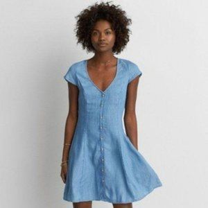 American Eagle Chambray Lace Up Back Dress L